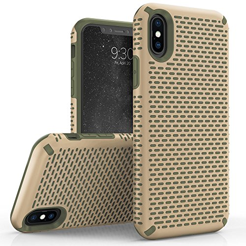 Zizo Echo Series Compatible with iPhone X Case Dual Layered TPU and PC with Anti Slip Grip iPhone Xs case Desert TAN CAMO - Case Tan Desert