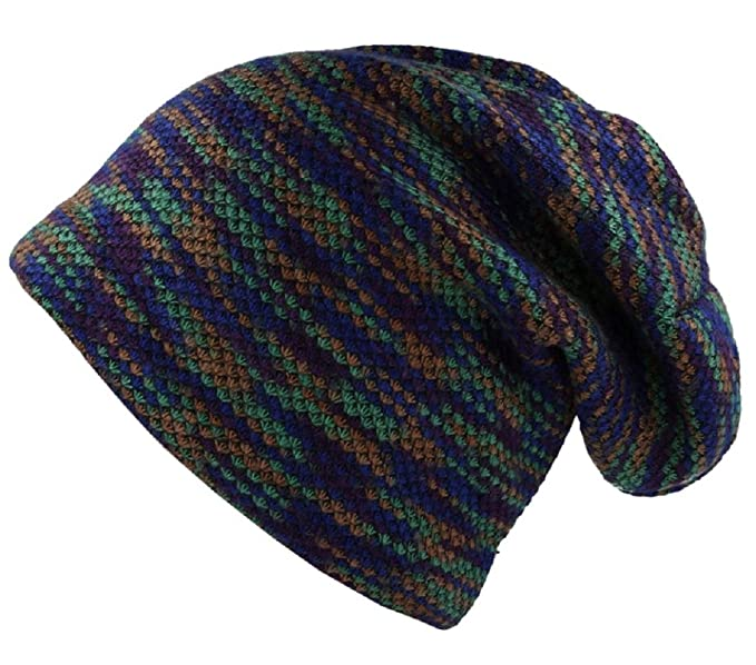 59020d78c2c Beanie Hat Purple Green Striped Design Size M L Long Style with Warm  Lining  Amazon.co.uk  Clothing