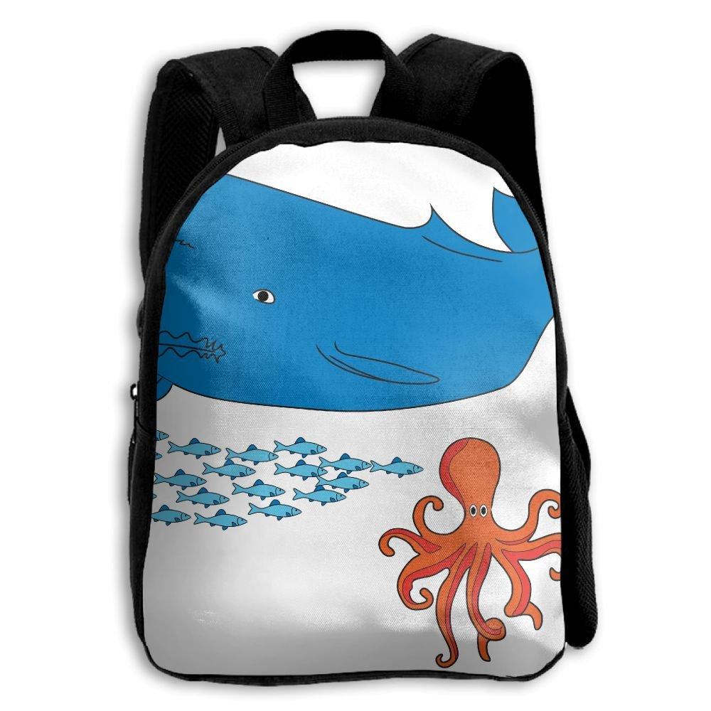 Whale and Octopusを印刷耐久性Kid 'sミニバックパック B07C8744NX