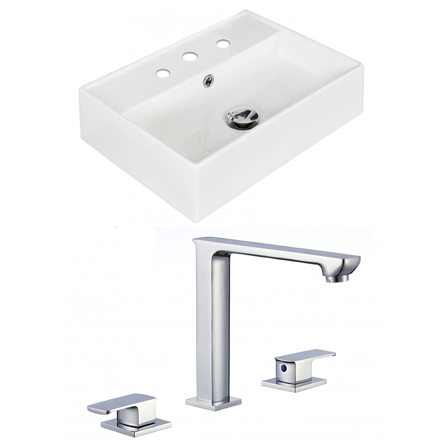 "good Jade Bath JB-17890 20"" W x 14"" D Rectangle Vessel Set with 8"" o.c. CUPC Faucet, White"