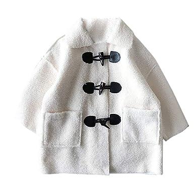 Xmiral Niñas Bebes Chaqueta para Invierno Chaquetón Clásico Abrigo Cuello Solapa Cierre de Botones Vintage Casual