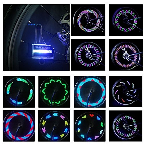 LED Bike Wheel Light Waterproof DAWAY Bicycle Tire Light Spoke Lights, Safety Cool Bike Accessories for Kids Adults, Auto Open Close, Super Bright Different Patterns, Include Battery
