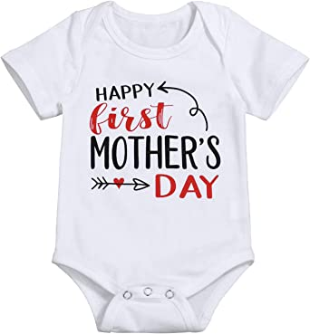 Mothers Day Cotton Unisex Baby Bodysuit Short Sleeve Romper Jumpsuits Clothing