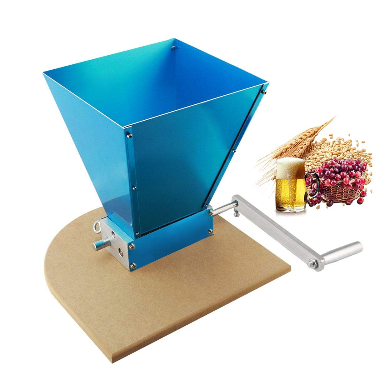 MRbrew Barley Crusher 2 Bearing Rollers Grain Malt Mill with Wooden Base for Homebrew