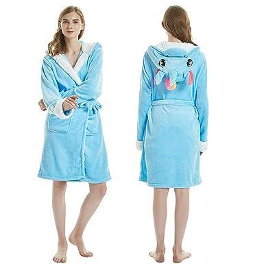 a309f8980b Etitek Luxury Ladies 3D Animal Unicorn Bathrobe Soft Short Hooded Flannel  Fleece Plush Bath Robe Pajamas
