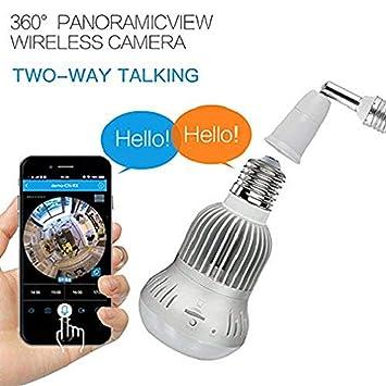 hangang Fisheye 360 grados HD inalámbrico Wifi IP Cámara Panorámica oculta Cam 1536P HD lámpara bombilla Interior de seguridad doméstica de vigilancia para ...