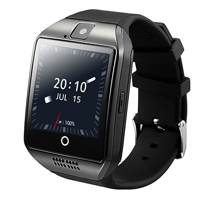 ZOMTOP Q18 Smart Watch teléfono Bluetooth cámara SIM TF Tarjeta SmartWatch para Android Samsung LG Google Pixel y iPhone 7 7Plus 6 6S 6S Plus (Negro)