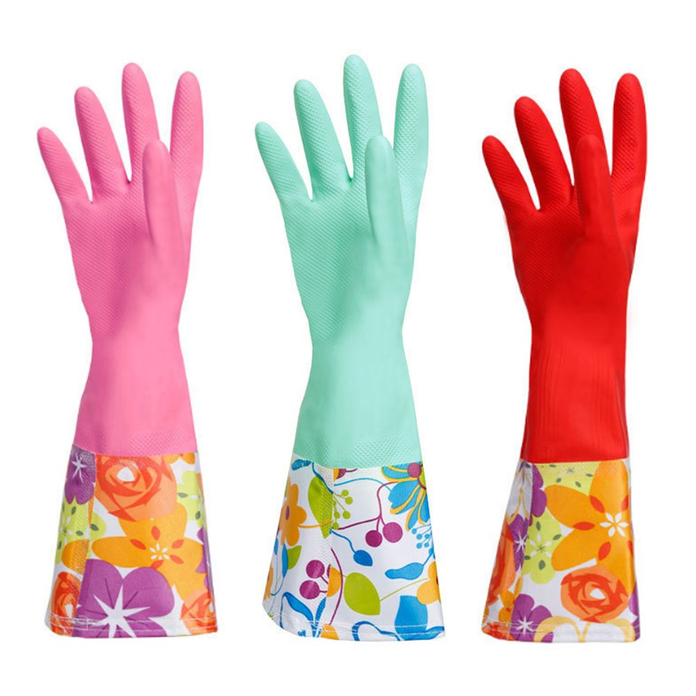 Dishwashing Rubber Gloves, Aixingyun Non-Slip Household Laundry Kitchen Cleaning Gloves, Antibacterial Reusable PU Waterproof Latex Gloves (Large, 3-Pairs)