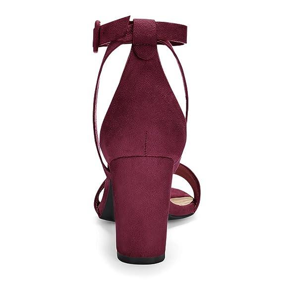 b10e25e888a0 Allegra K Damen PU Paneel gesäumt Blockabsatz Knöchel-Riemen Hohe Sandalen   Amazon.de  Schuhe   Handtaschen