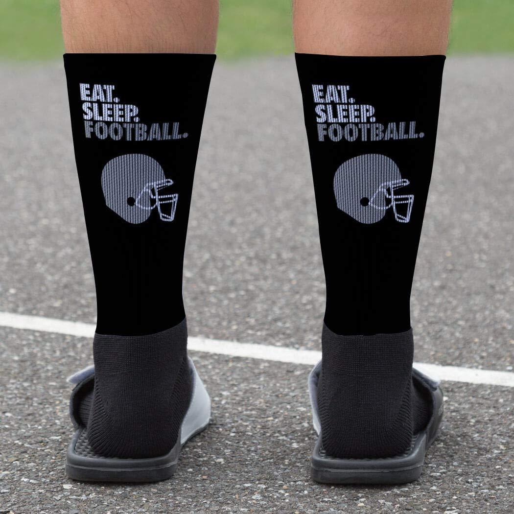 Football Socks by ChalkTalkSPORTS Multiple Sizes Eat Sleep Football Printed Mid Calf Socks