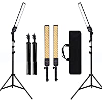 GIJUANRING 2 Packs Dimmable Bi-Color LED Video Light with Tripod Stand Bag Photography Lighting Kit for Camera Video…