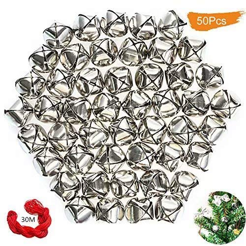 50 Pack 1 Inch Jingle Bells Christmas Silver Jingle Bells For Craft Festival Decoration With 30 Meter Red Cord and 12 Bowknots ()