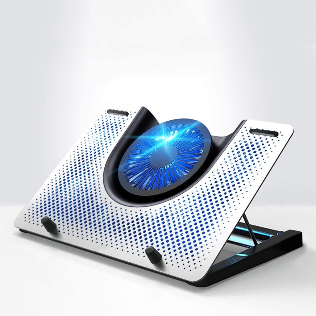 """Notebook Cooler Laptop Cooling Stand Blu-ray 12"""" - 18"""" Gaming Laptop Cooling Pad for Desk USB Powered Fan with Metal Grid Stable and Silent Laptop Cooler Stand (Color : Silver)"""