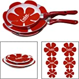 Evelots Set of 6 Pan & Dish Protectors For Pots & Pans of All Sizes, Red