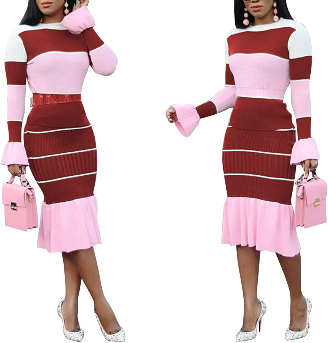 Womens 2 Pieces Outfit Long Sleeve O Neck Color Block Blouse Pencil Skirt Set