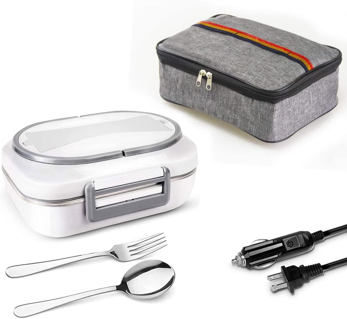 Electric Lunch Box OMaggie Food Heater 2 in 1 Portable 110V/12W Food Warmer for car, Home, 40W, Removable Stainless Steel Lunch Box, 3 Compartments with Fork, Spoon, Carry Bag