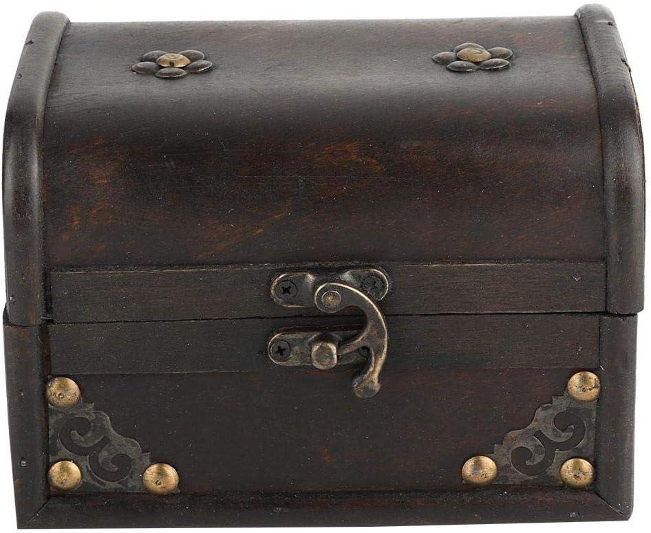 Pequeña caja de almacenamiento vintage de madera artesanal negra, caja decorativa hecha a mano del tesoro, decoración de accesorios con hebilla de aleación, caja de almacenamiento de fotos de madera,: Amazon.es: Hogar
