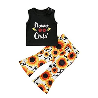 Euvinla 2Pcs Toddler Baby Girl Floral Vest T-Shirt Top + Denim Shorts Outfit Clothes Set