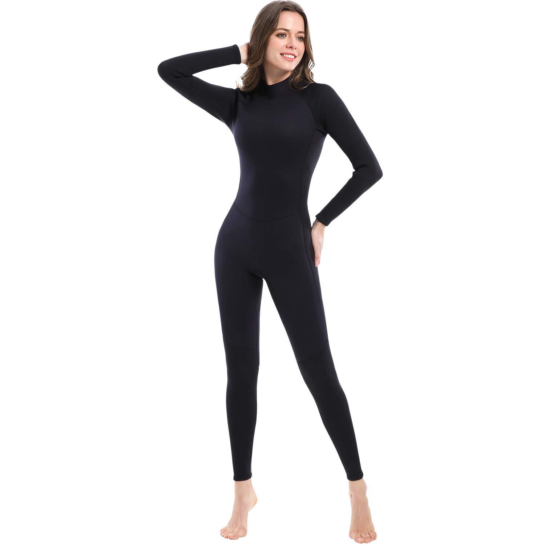 Dark Lightning 3mm Wetsuit Women, Women's Wetsuit Long Sleeve Full Suit Premium Neoprene Womens Suit Scuba Diving/Surf/Canoe, Jumpersuit (Black 3/3, XL)