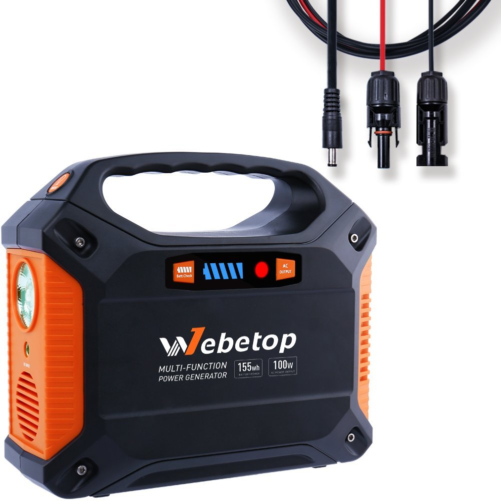 Webetop 155Wh 42000mAh Portable Generator Power Inverter Battery 100W Camping Emergency Home Use UPS Power Source Charged by Solar Panel with MC4 Cable
