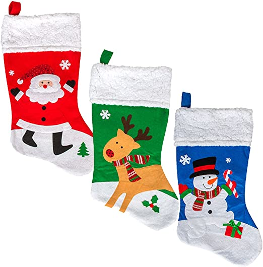 Christmas Stockings Set of 4 Family Pack Deluxe Nordic Tree Faux Fur Cuff