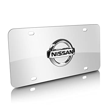 nissan 3d logo stainless steel chrome steel license plate