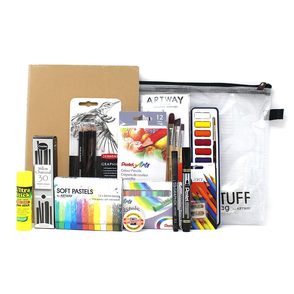 ArtWay - A3 Art Kit - 14 Items Including Pencils Brushes Pastels Paints and More - Ideal for GCSE and A-Level - A3
