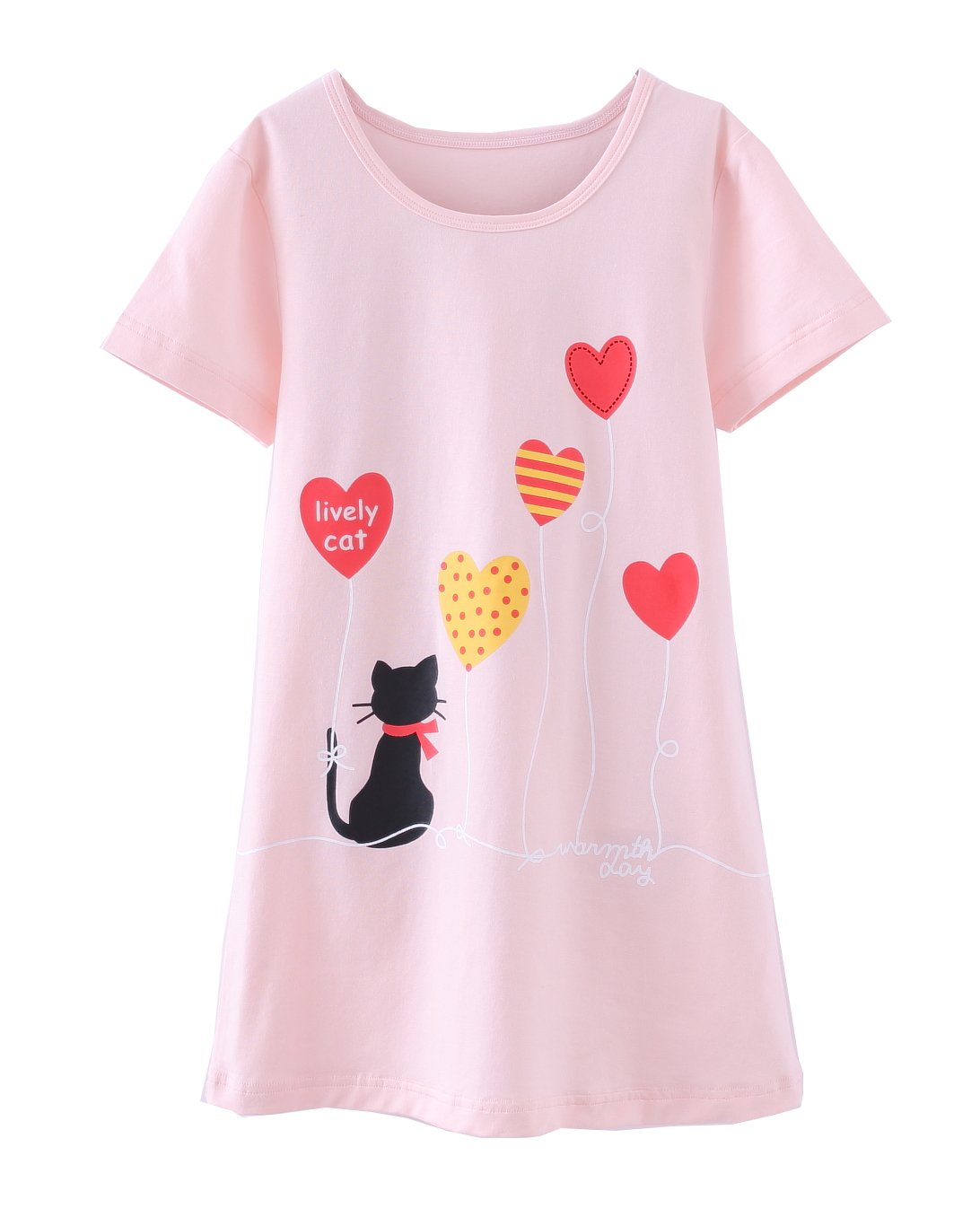 ABClothing Girls Cotton Cherry Nightgown Pink 2-12 Years Old