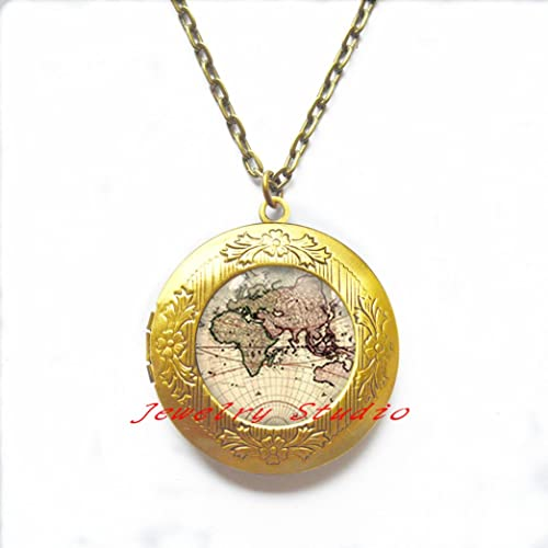 World map locket necklace post earth locket pendant simple locket world map locket necklace post earth locket pendant simple locket necklace globe earth gumiabroncs Choice Image