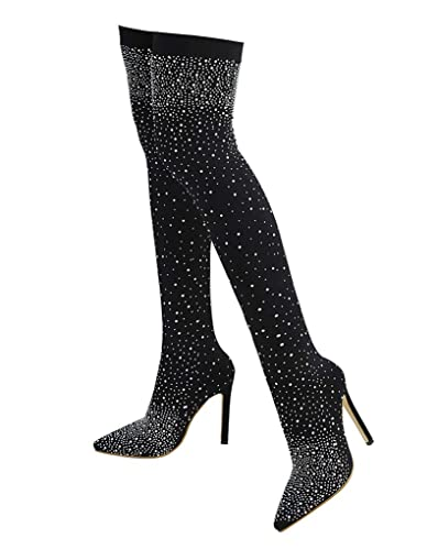 6a0b7bccd1 Stupmary Women's Over The Knee Boots Pointed Toe Crystal High Heeled Thigh  High Bootie Rhinestone Black