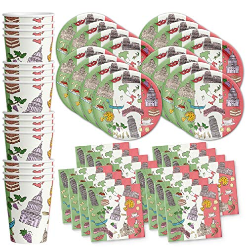 Italy Birthday Party Italian Supplies Set Plates Napkins Cups Tableware Kit for 16