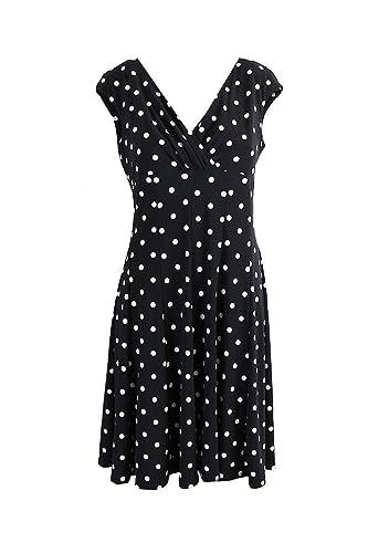 Lauren Ralph Lauren Women's Petite Polka Dot Sheath Dress Black 10P