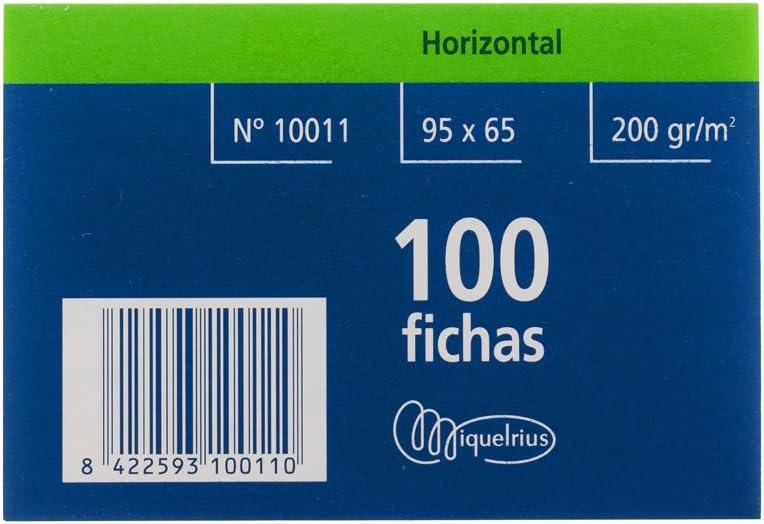 Miquel Rius Número 1 - Fichas rayadas, 100 unidades, 65 x 95 mm