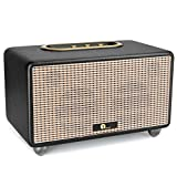 1byone 25W Bluetooth HIFI Stereo Speaker, 3.5mm Port, Adjustable Bass and Treble, Wooden Cabinet, PU Leather Wrapping