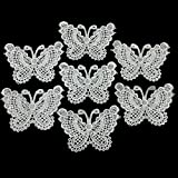 12pcs White Butterfly Patches Sew Fabric Sticker for Clothes Embroidered Appliques DIY Accessory (Style B)