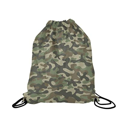 0c0757a9b0 InterestPrint Army Camouflage Military Soldier Repeated Green Camo Print  Drawstring Bags Kids School Water Resistant Polyester Travel Daypack Gym Bag,  ...