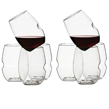 GoVino Wine Glass Flexible Shatterproof Recyclable, Set of 8