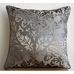 luxury grey throw pillow covers damask pillow. Black Bedroom Furniture Sets. Home Design Ideas
