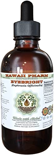 Eyebright Alcohol-FREE Liquid Extract, Organic Eyebright Euphrasia officinalis Dried Herb Glycerite Hawaii Pharm Natural Herbal Supplement 2 oz