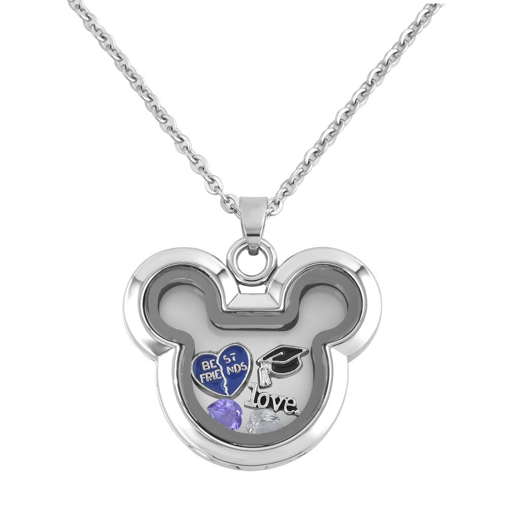 Q&Locket Best Friends Graduation Love Floating Charms In Mickey Mouse Shaped Locket Pendant Necklace