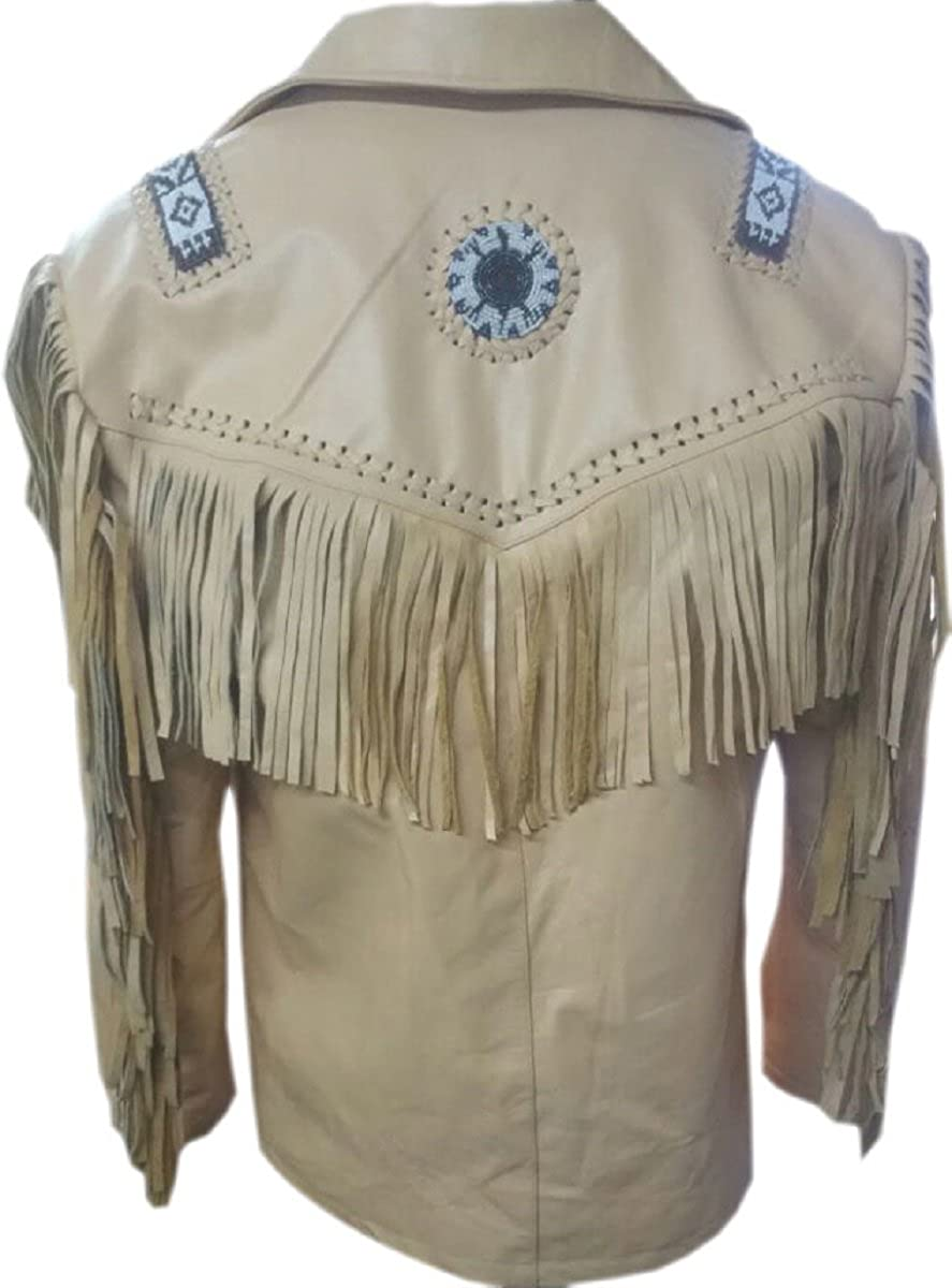 LEATHERAY Mens Fashion Western Cowboy Fringed Jacket Suede Leather Beige