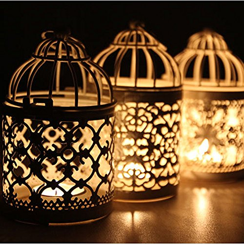 (Newest Metal Hollow Candle Holder Tealight Candlestick Hanging Lantern Bird Cage)