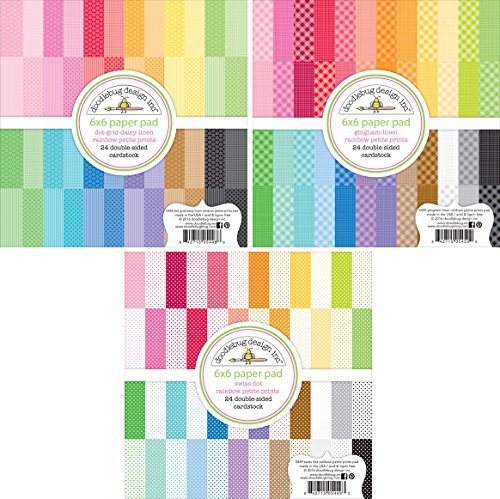 Doodlebug Petite Prints 6x6 Inch Paper Pad Bundle with Gingham/Linen; Dot/Grid, Daisy/Stripe; Swiss Dot (Set of 3 Items) (6x6 Paper Scrapbook Pad)
