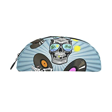 MONTOJ Music Skull Art Vector Semicircle Pencil Holder Pen case Cosmetic Bag