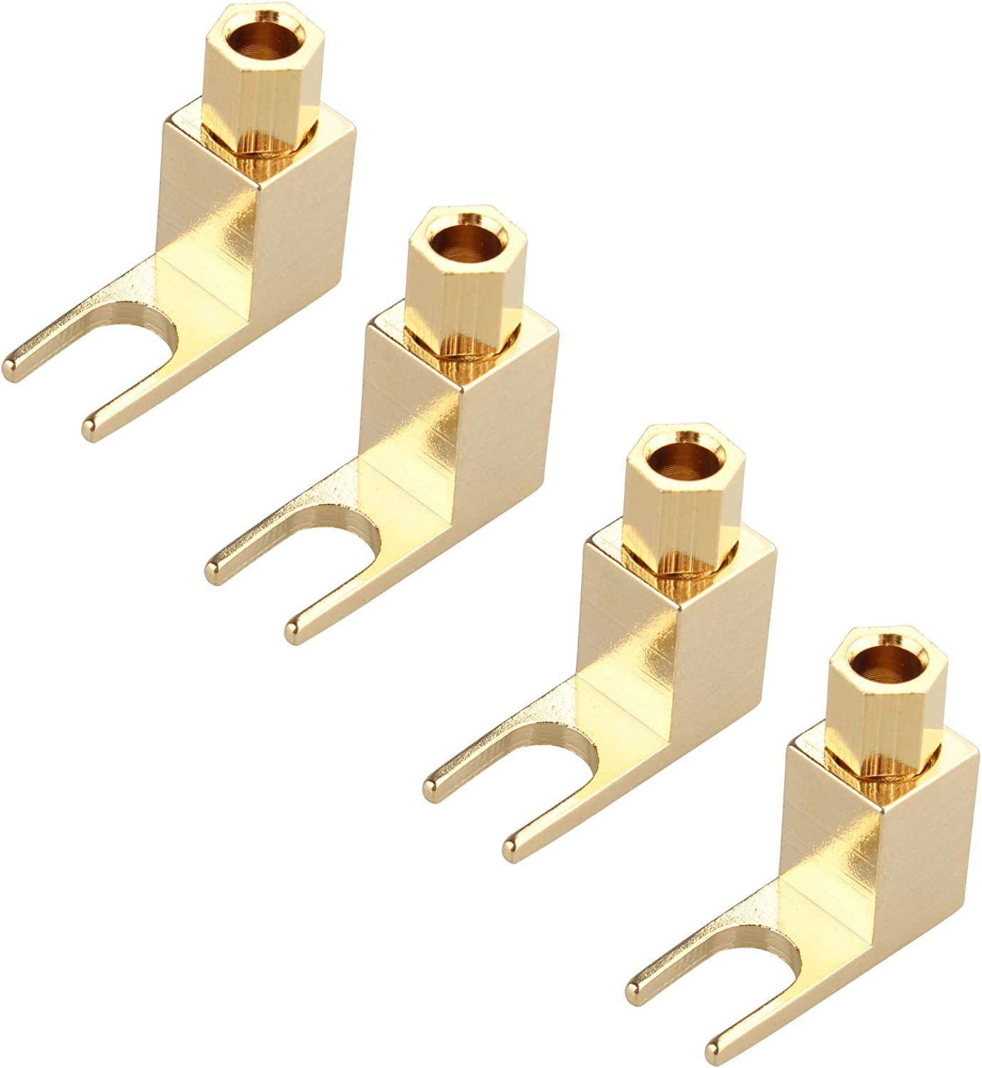 Hi-end Banana to Spade Adapter Plug Speaker Cable Wire Right Angle Spade Fork and Binding Post Connector HiFi Gold 8 PCS Speaker Cable Connector