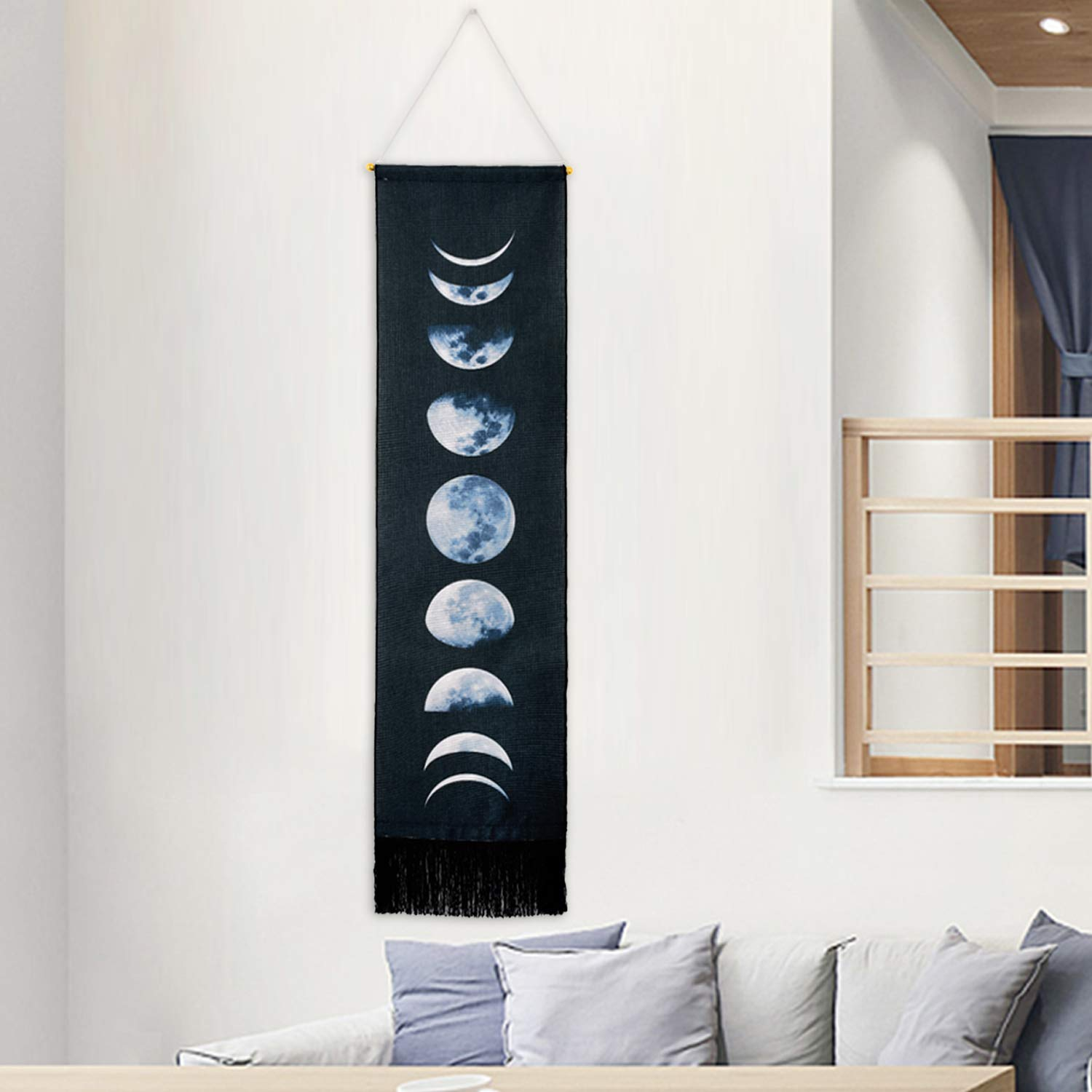 "Martine Mall Tapestry Wall Hanging Tapestries Nine Phases of The Full Growth Cycle of The Moon Wall Tapestry Cotton Linen Wall Art, Modern Home Decor (Black Moon Phase Change, 12.99"" x 52.75"")"