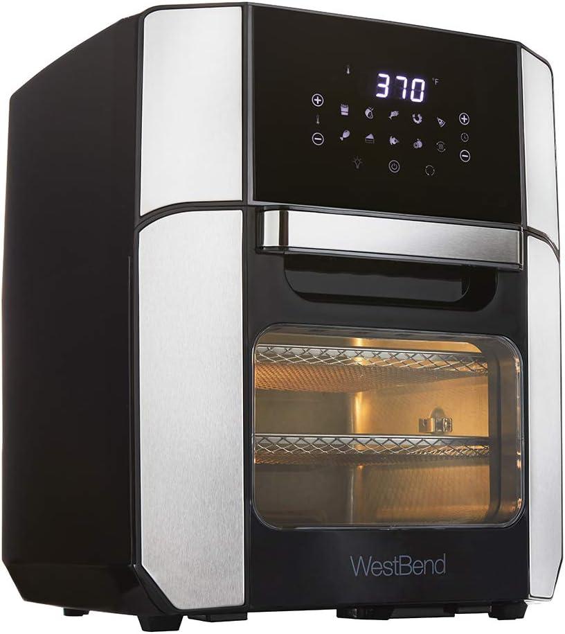 West Bend AFWB12BK13 XL Air Fryer Oven 10 Quick Menu Presets - Bake, Roast, Rotisserie, Dehydrate, Re-Heat Dishwasher Safe Accessories Included, 12.6-Quart, Black