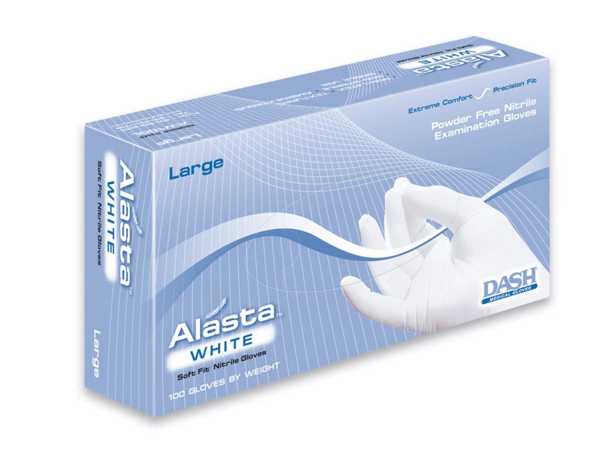 DASH Alasta Nitrile Exam Gloves - Disposable, Powder Free, Medical Grade (Case of 1000) (S, White)