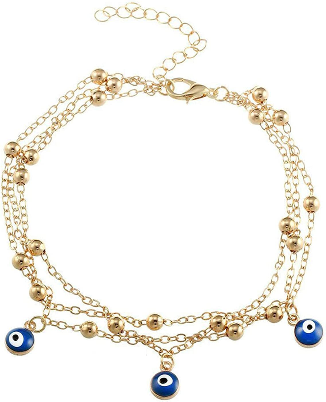 Hermashy Beaded Ankle Bracelets for Women Evil Eye Gold Boho Anklets Foot Jewelry Barefoot Sandals Layered Link Chain Beach Anklet Bracelet Jewelry for Girls(Gold 3)