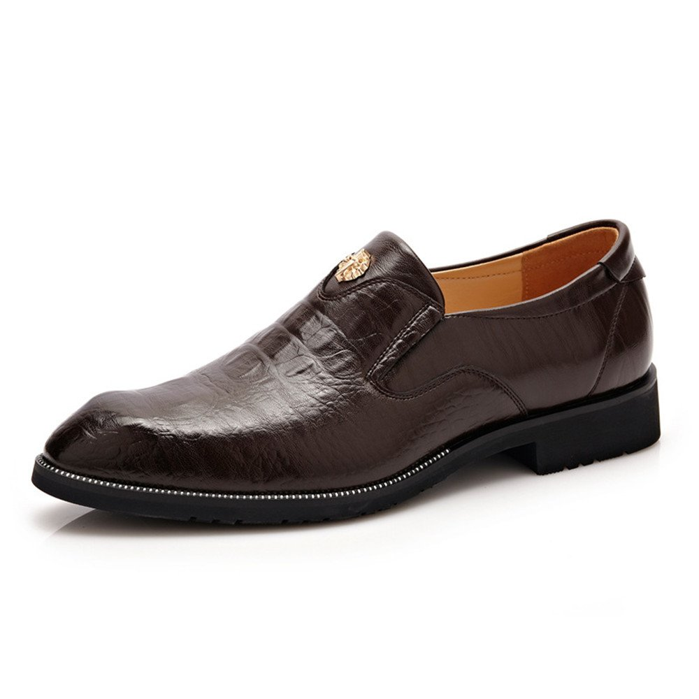 HYF Men's PU Leather Business Oxfords Faux Crocodile Skin Texture Slip-on Loafers Driving Shoes (Color : DarkBrown, Size : 7 MUS)